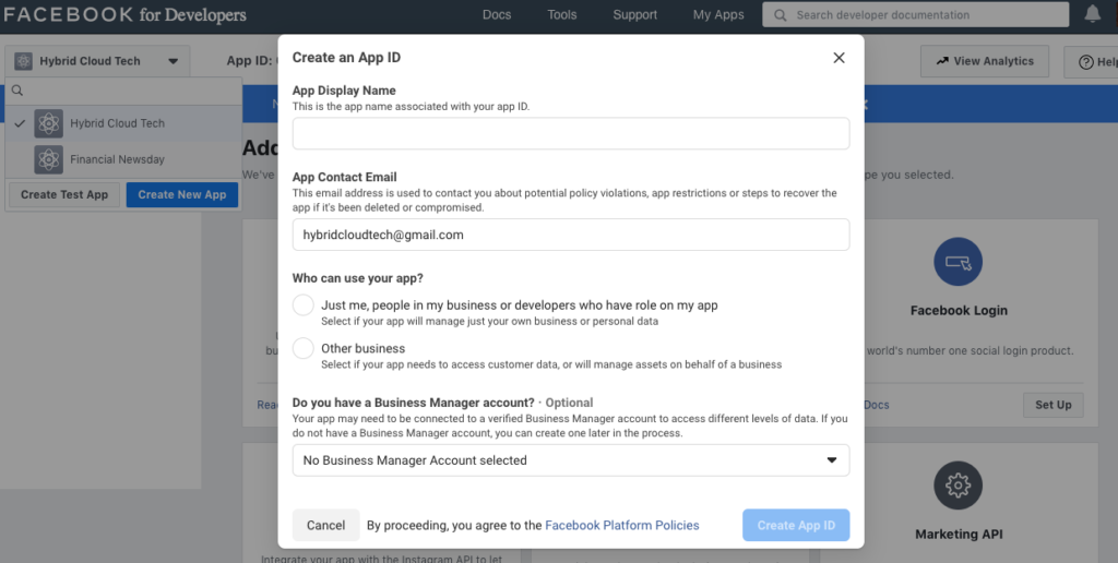 Facebook ID -Input Your New App's Information