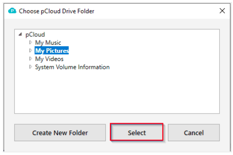 Choose a specific folder