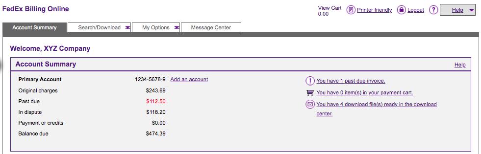 FedEx Billing Online 1
