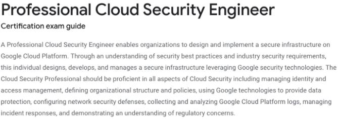 Google Professional Cloud Course