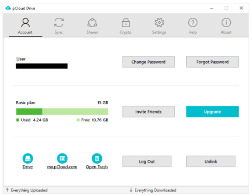 pCloud Drive options panel, invite friends to receive more free storage.
