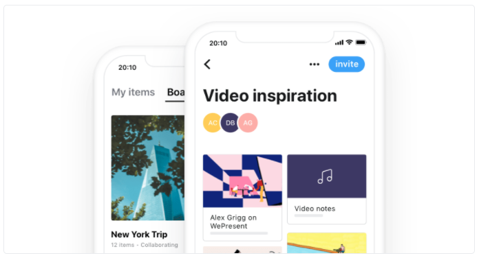 Collect is a content gathering tool that allows you to save, organise and share your ideas