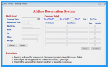 Airline Reservation System - Java Projects