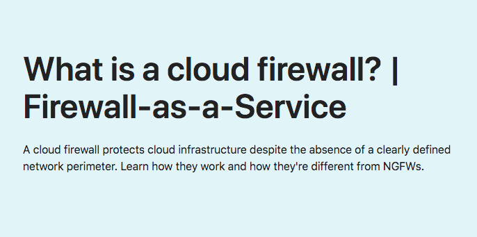 What is Cloud Firewall?