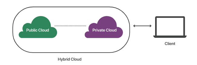 Explanation of public and private cloud with a client