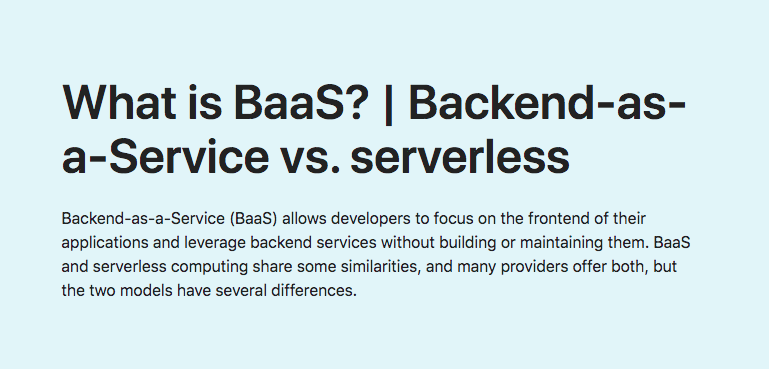 What is BaaS? | Backend-as-a-Service vs. serverless
