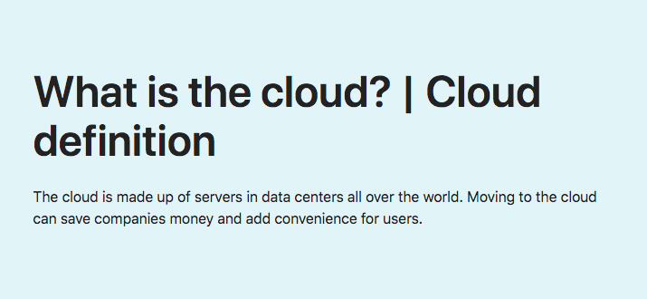 What is the cloud? | Cloud definition